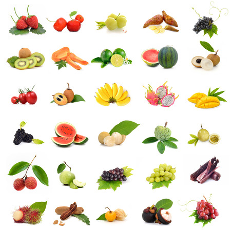 yacon: Asia tropical fruits ,Collection fruit set on white background