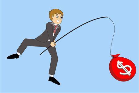 finger fish: Businessman hand holding fishing rod and money, illustration flat style
