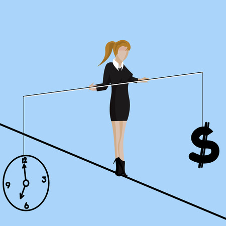 business woman making decision between time or money, time is money concept. Balancing Time and Money. vector illustration Stock Vector - 53608041
