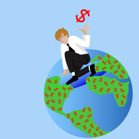 create idea: Businessman standing and create dollar money on earth ,Make Money from idea, vector illustration