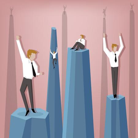 caes: El hombre de negocios subir el acantilado, pero cuanto más se asciende dura es la caída. (Ilustración de negocio concepto de dibujos animados)