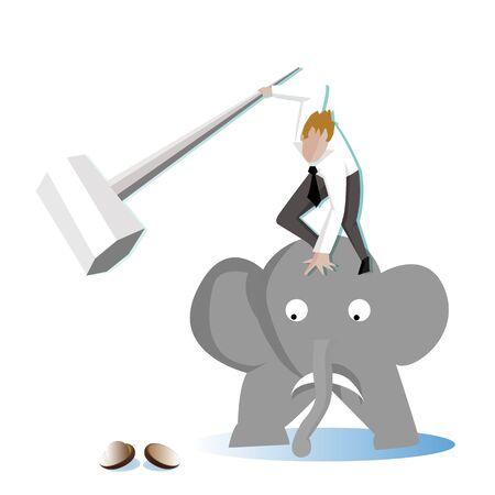 sledgehammer: Businessman take a sledgehammer on elephant to crack (break) a walnut (Nut) (Business concept cartoon illustration)