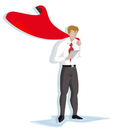 ビジネスマンのスーパー ヒーロー (ビジネス コンセプト漫画イラスト)  イラスト・ベクター素材