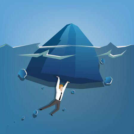relaciones humanas: El hombre de negocios levantando iceberge con hermoso mar transparente en el fondo (Concepto de negocio ilustraci�n de dibujos animados) Vectores