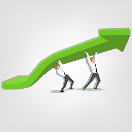 increases: concept increases profitability : Businessman lifting up the green graph.(Business concept cartoon illustration)