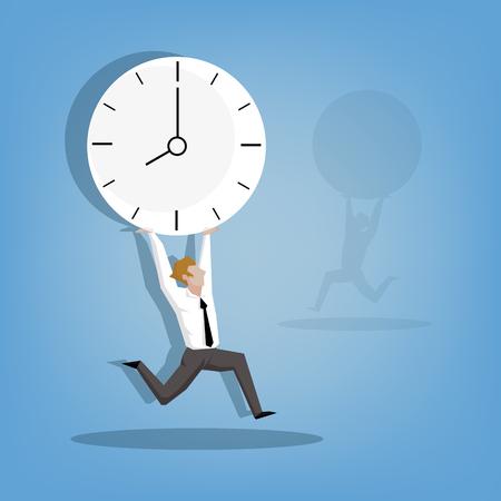 cheerful attractive businessman in a hurry ((Business concept cartoon illustration) Vektoros illusztráció