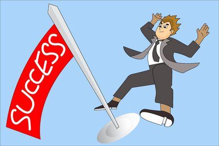 commendation: Businessman hold a red flag. Cartoon flat Vector illustration business success concept design.