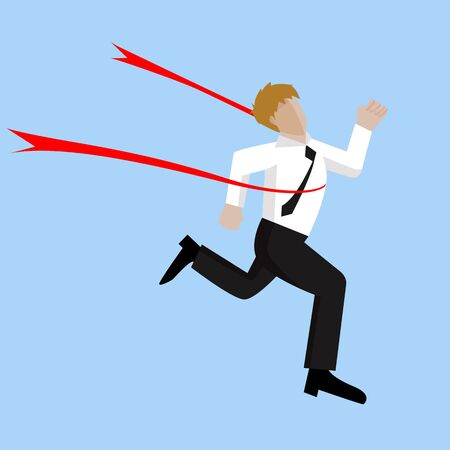 concurrence: Businessman crossing finish line, he is won a competition