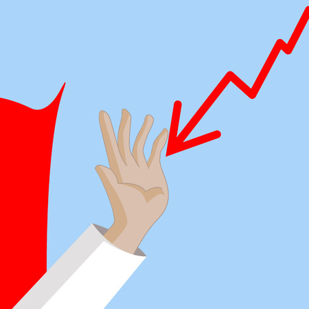 hand stop: Super businessman hand stop the falling down stock graph. Business concept cartoon illustration
