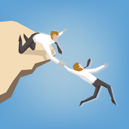 Businessman helping another businessman get over a large cliff. ( Business help, support, survival, investment concept cartoon illustration)