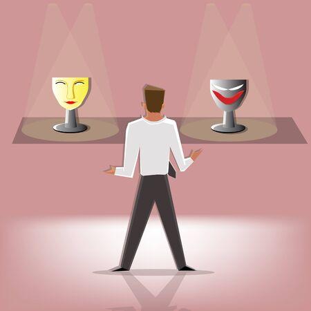 choose: Businessman choose between mask of seint and mask of devil, (Business concept cartoon illustration)