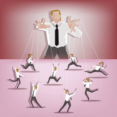 executing: Businessman master of businessman puppets Illustration