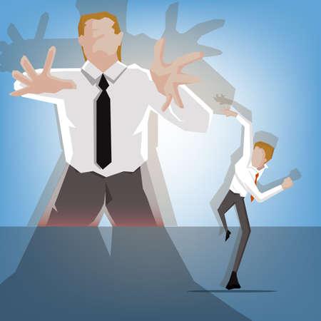 Joven empresario problema fuera de control del jefe