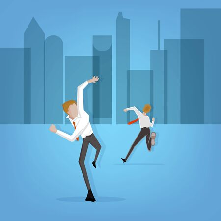 Businessman running to work on time Illustration