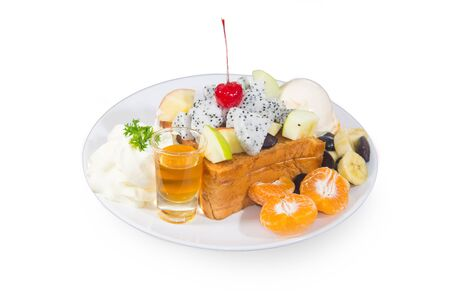 bread and butter: Bread butter with fruit toping and honey liquid