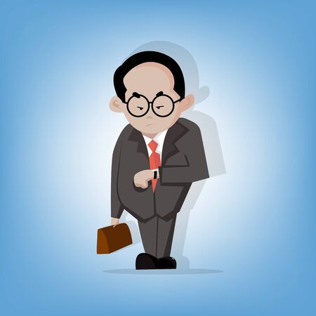 subordinate: Chief Businessman or Boss standing and see watch for waiting subordinate (Illustration cartoon flat design) Illustration