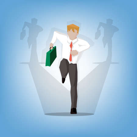 hurry: cheerful attractive businessman in a hurry ((Business concept cartoon illustration)