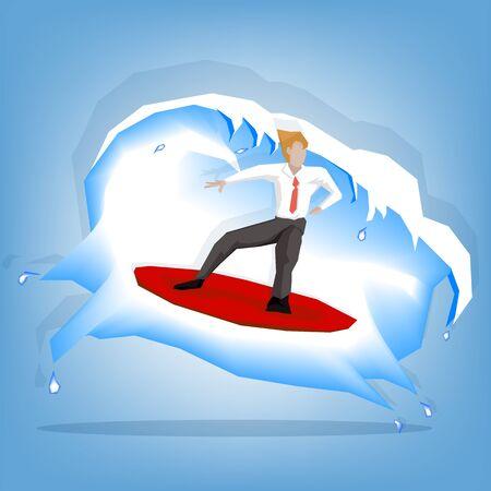 siervo: Businessman playing serf board (illustration cartoon design)