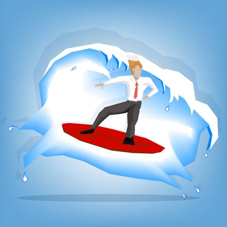 serf: Businessman playing serf board (illustration cartoon design)