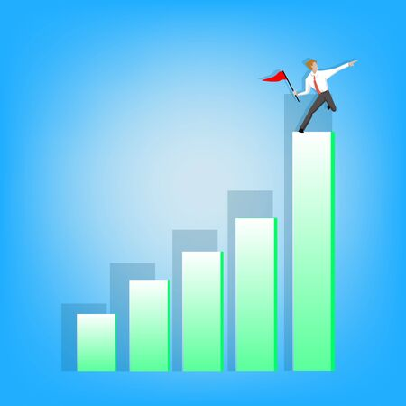 business performance: Businessman stand on green graph and point finger Illustration