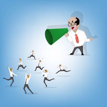 Amministratore o capo gridando attraverso un megafono per uomo d'affari (Illustrazione dei cartoni animati design piatto) Vettoriali