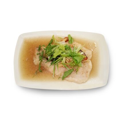 bluefish: steamed snow fish in soy sauce