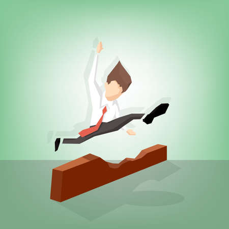 businessman jumping: Businessman jumping over barrier (Success business concept)