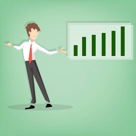 Homme d'affaires debout et présentation chiffre d'affaires représenté (dessin animé Illustration de design plat)