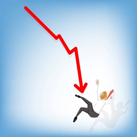 stock graph: businessman falling from stock graph