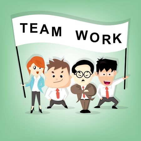 Boss manager and team assistant standing in company shown teamwork sign Illustration