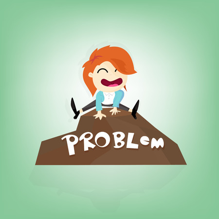 solve problem: Business woman jumping over stone (Solve problem business concept)