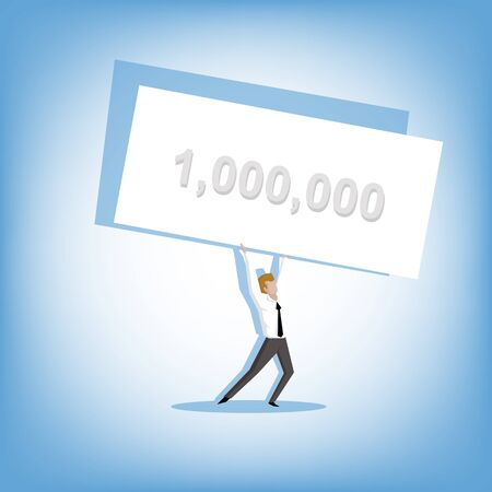 winning money: Businessman has won the lottery a million (Lottery winner concept)
