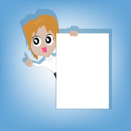 businesswoman standing: Businesswoman standing and shown blank paper white board Illustration