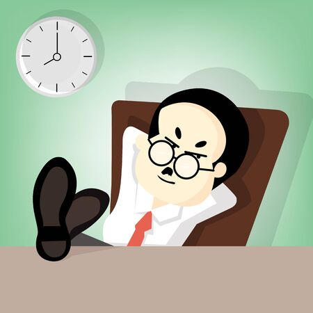 lift up: Boss sitting on chair and lift up legs on desk Illustration
