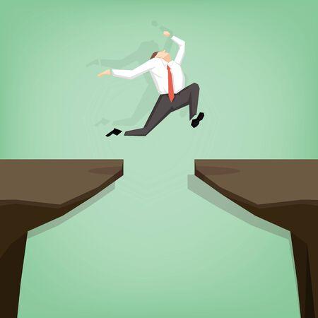 격차를 통해 점프하는 사업가. 평면 만화 디자인 비즈니스 개념 그림입니다.