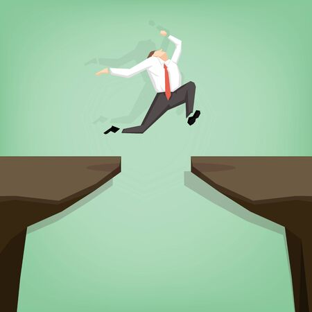 businessman jumping over gap. Flat cartoon design business concept illustration.