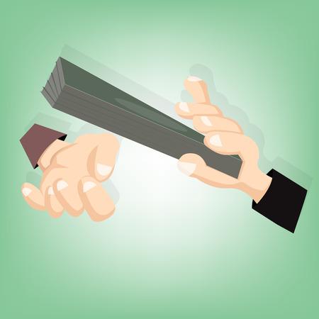 remuneraciones: Concepto - la corrupci�n. Dando un soborno. El dinero en mano (Ilustraci�n de dise�o vectorial)