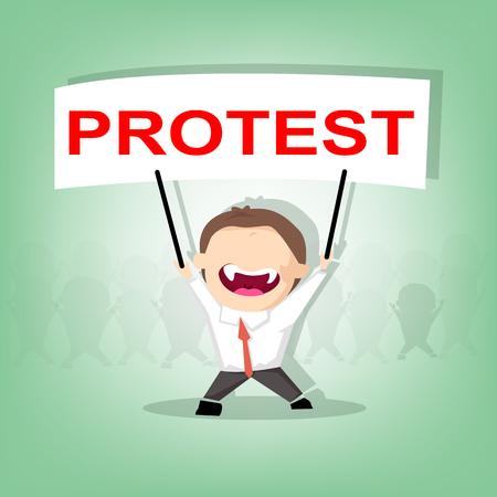 conflictos sociales: Manifestante levantando pancartas de protesta, multitud de personas manifestantes fondo, político, cartel de crisis política, los puños, de estilo plano moderno diseño ilustración vectorial revolución cartel concepto de símbolo