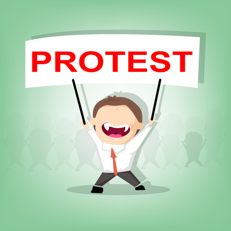 protest design: Protester lifting up protest signs, crowd of people protesters background, political, politic crisis poster, fists, revolution placard concept symbol flat style modern design vector illustration Illustration