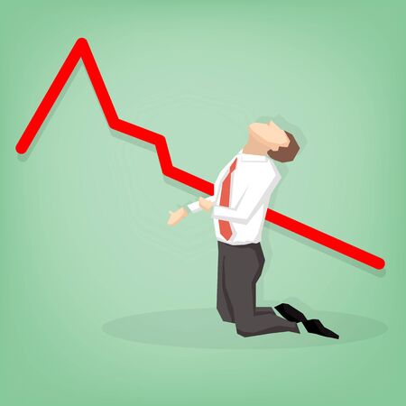 going down: Crisis concept - Arrow graph going down and Depressed Businessman Leaning Illustration