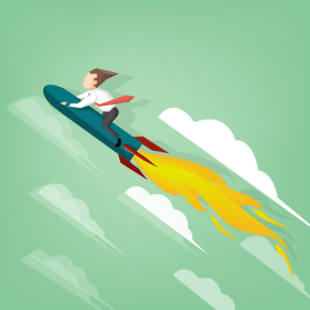 business flying: Businessman flying on the rocket.  (Success business concept)