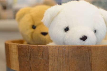 Bears toy in Oak barrels