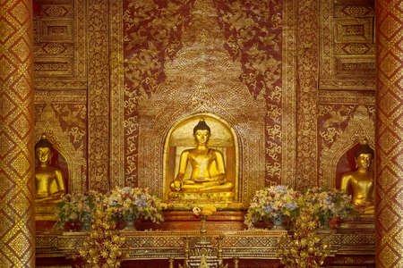 pra: Golden ancient buddha in Wat Pra Singh Temple pavilion  ,Chiangmai ,Thailand Editorial