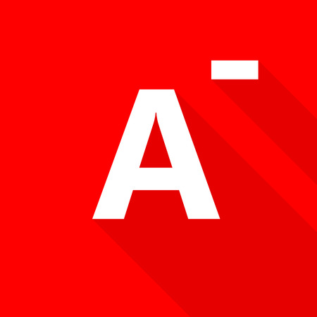 blood type: A- blood type on red background.