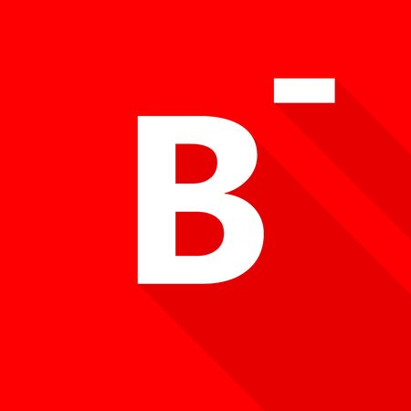 donor blood type: B- blood type on red background.