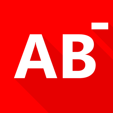 blood type: AB- blood type on red background. Illustration