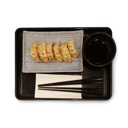 potstickers: Dumplings gyoza japanese food isolate on white background