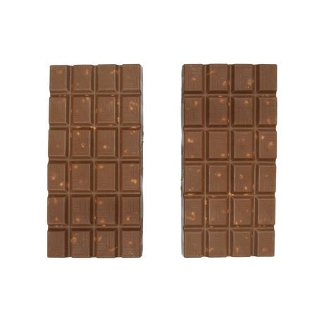 chocolate bars: chocolate bars with almonds nuts lying on white background Stock Photo