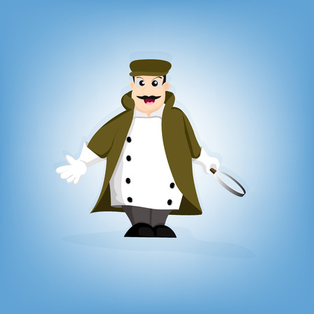 reveal: Detective character. character design - vector illustration