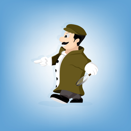 disclose: Detective character. character design - vector illustration
